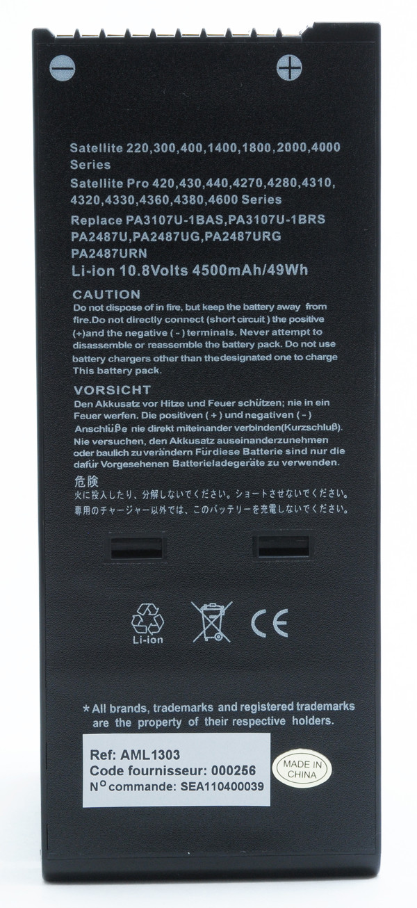 Laptop battery 10,8V 4500mAh for Toshiba Satellite 2670DVD