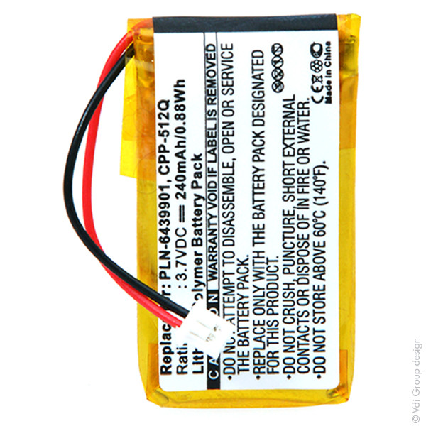 Audio headset battery 3,7V 240mAh for Plantronics 64399-01