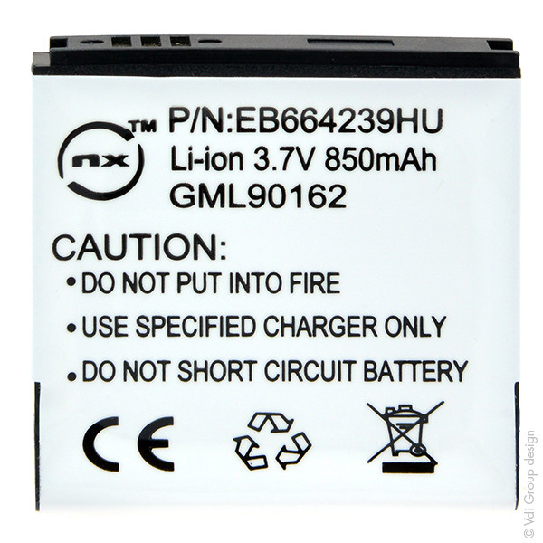Mobile phone, PDA battery 3,7V 850mAh for Samsung GT-S8000 Jet Cubic