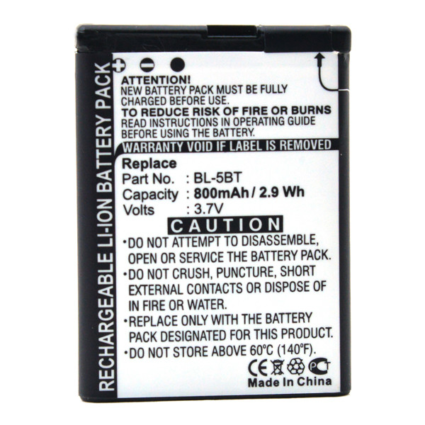 Mobile phone, PDA battery 3,7V 800mAh for Nokia 2600 Classic