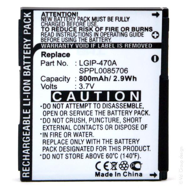 Mobile phone, PDA battery 3,7V 800mAh for LG Shine KF600
