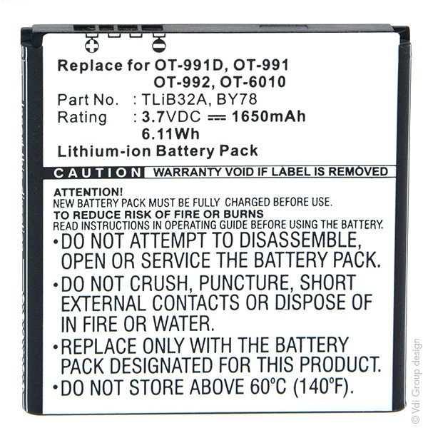 Mobile phone, PDA battery 3,7V 1650mAh for Alcatel One Touch 992D