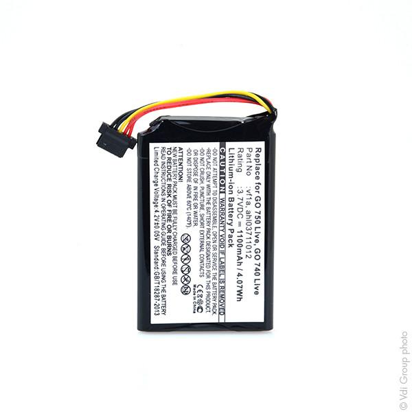 GPS battery 3,7V 1100mAh for TomTom Go 750 Live