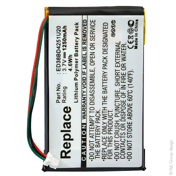 GPS battery 3,7V 1200mAh for Garmin Nüvi 1490T Pro