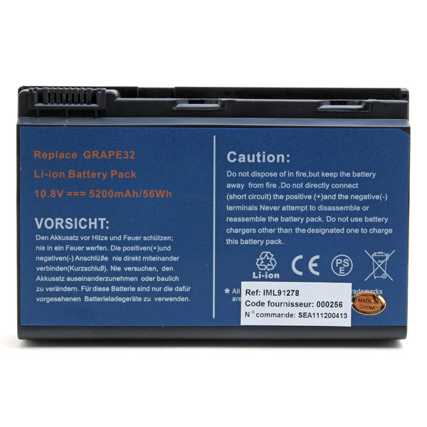 Laptop battery 10,8V 5200mAh for Acer TravelMate 7520G-401G16MI