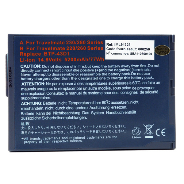 Laptop battery 14,8V 5200mAh for Acer TravelMate 283LC