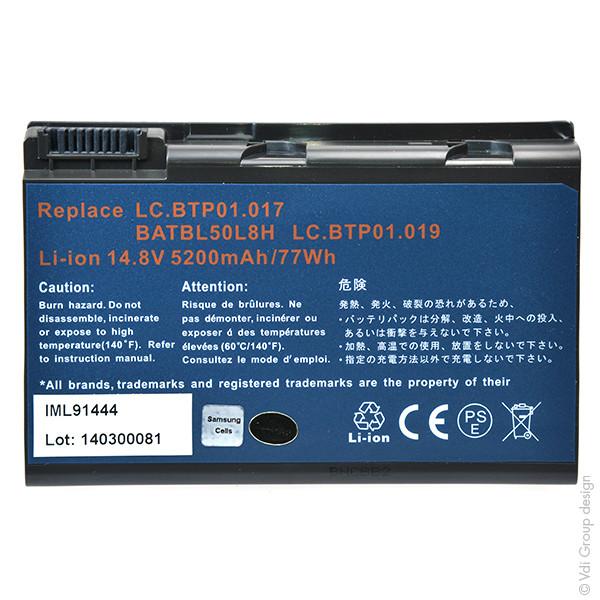 Laptop battery 14,8V 5200mAh for Acer TravelMate 2492WLMi