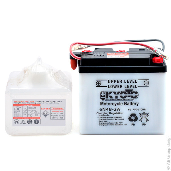 Motorbike, Scooter battery 6V 4Ah for Yamaha 125 TY 125 1980 - 1990