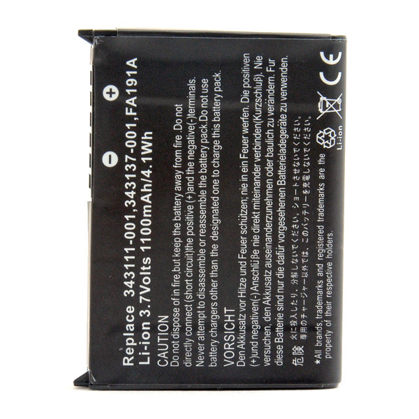 Mobile phone, PDA battery 3,7V 1100mAh for HP Compaq Ipaq PE2028AS