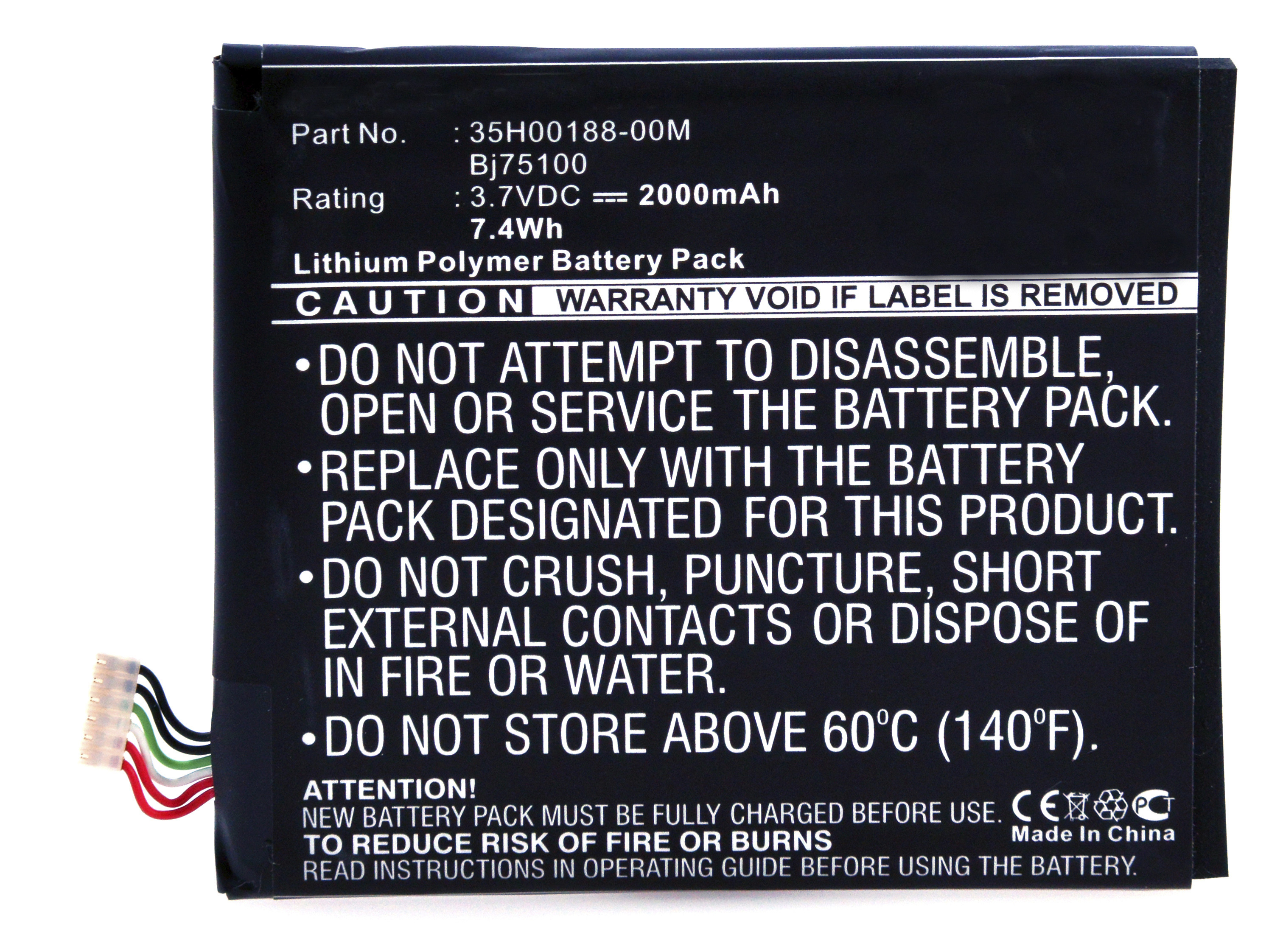 Mobile phone, PDA battery 3,7V 2000mAh for AT&T One X Plus